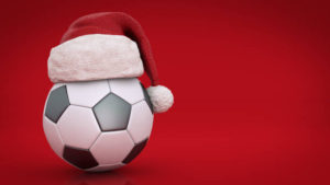 Christmas concept. soccer ball. 3d rendering